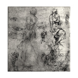 Human and Architectural Studies Giclée-tryk af Michelangelo Buonarroti,