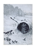 Taking Shelter Reproduction procédé giclée par Louis Wain