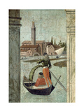 The Arrival of the English Ambassadors, from the St. Ursula Cycle, Detail of a Gondola, 1490-96 Giclée-tryk af Vittore Carpaccio