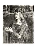 St. Catherine, Possibly a Portrait of Lucrezia Borgia (1480-1519) from the Lives of the Saints Giclée-tryk af Bernardino di Betto Pinturicchio