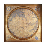 The Mappa Mundi of Fra Mauro, a Camaldolese Monk from the Monastery of San Michele in Murano, 1459 Giclée-vedos