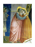 The Meeting at the Golden Gate, Detail of Joachim and St. Anne Embracing, c.1305 Giclée-tryk af  Giotto di Bondone