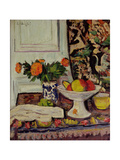 Still Life with Fruit and Marigolds in a Chinese Vase, c.1928 Giclee Print by George Leslie Hunter