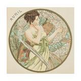 April, 1899 (Detail) Lámina giclée prémium por Alphonse Mucha