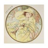 February, 1899 (Detail) Giclée-Druck von Alphonse Mucha