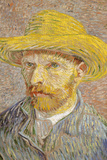 Self Portrait with Straw Hat 1887 Vincent Van Gogh Plastic Sign Plastikskilt af Vincent van Gogh