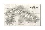 Cuba Old Map With Havana Insert Plan Art par  marzolino