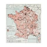 France Population Density At The End Of 19Th Century, Old Map Print by  marzolino