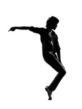 Full Length Silhouette Of A Young Man Dancer Dancing Funky Hip Hop R And B Plakater af  OSTILL