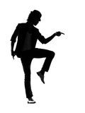Full Length Silhouette Of A Young Man Dancer Dancing Funky Hip Hop R And B Affiche par  OSTILL