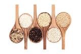 Rice Varieties In Olive Wood Spoons Over White Background Posters tekijänä  marilyna