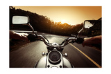 Driver Riding Motorcycle On An Asphalt Road Through Forest Affischer av Dudarev Mikhail