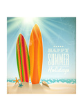 Holidays Vintage Design - Surfboards On A Beach Against A Sunny Seascape Print by  vso