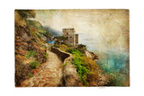 Picturesue Italian Coast - Artwork In Retro Painting Style Pôsters por  Maugli-l