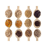 Different Type Of Seeds On Wooden Spoon Print by  adamr