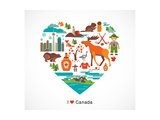 Canada Love - Heart With Many Icons And Illustrations Kunst af  Marish