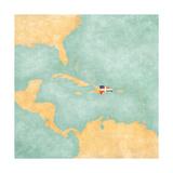 Map Of Caribbean - Dominican Republic (Vintage Series) Arte por  Tindo