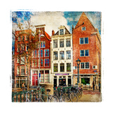 Amsterdam - Artwork In Painting Style Stretched Canvas Print by  Maugli-l