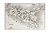 Sicily Old Map With Stromboli Isle Insert Map Prints by  marzolino