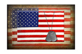 Military Dog Tags On American Flags Prints by  14ktgold