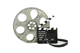 Movie Clapper Board With Film Reel On White Background Posters by Steve Collender