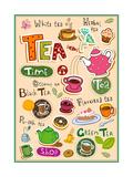 Set Of Tea Design Elements And Inscriptions Poster von Anastasiya Zalevska
