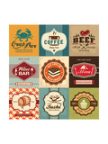 Set Of Vintage Retro Labels For Food, Coffee, Seafood, Bakery, Restaurant Cafe And Bar Poster von  Catherinecml