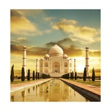 Taj Mahal Palace In India On Sunrise Print by Andrushko Galyna