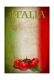 Traditional Italian Flag With Tomatoes And Basil Láminas por  pongiluppi