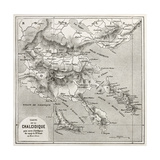 Chalkidiki Old Map, Greece. Created By Vuillemin, Published On Le Tour Du Monde, Paris, 1860 Plakat af  marzolino