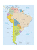 South America-Highly Detailed Map Posters by  ekler