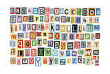 Colorful Alphabet Made Of Magazine Clippings And Letters . Isolated On White Posters av  donatas1205