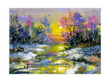 The Winter Landscape Executed By Oil On A Canvas Posters par  balaikin2009