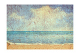Beach And Sea On Paper Texture Background 高品質プリント :  Gladkov