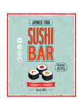 Vintage Sushi Bar Poster Poster by  avean