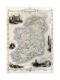 Ireland Old Map. Created By John Tallis, Published On Illustrated Atlas, London 1851 Plakater av  marzolino
