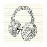 Music Doodles In The Shape Of A Earphones Art by Alisa Foytik