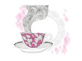 Coffee And Tea Mug With Abstract Doodle Pattern Kunstdrucke von cherry blossom girl