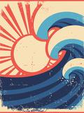 Sea Waves Poster.Grunge Illustration Of Sea Landscape Kunstdrucke von  GeraKTV