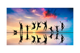 Happy Group Of Friends, Family With Dog And Cat Jumping Together At Sunset, Water Reflection Posters by Michal Bednarek