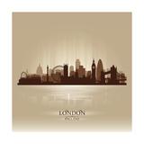 London England Skyline City Silhouette Plakater av  Yurkaimmortal