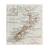 New Zealand Old Map Print by  marzolino