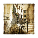 Streets Of Old Venice -Picture In Retro Style Stretched Canvas Print by  Maugli-l