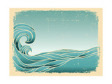 Grunge Blue Waves Background.Painted Image On Old Paper Texture Print by  GeraKTV