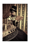 Portrait Of A Beautiful Steampunk Woman Over Vintage Background Pósters por  prometeus