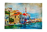 Beautiful Kastelorizo Bay (Greece, Dodecanes) - Artwork In Painting Style Prints by  Maugli-l