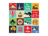 Set Of Vintage Retro Vacation And Travel Label Cards And Symbols Affiches par  Catherinecml