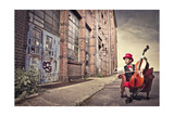 Young Man Sitting On An Armchair On A City Street And Playing The Cello Plakater av  olly2