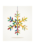 Merry Christmas Snowflake Shape With Triangle Composition Poster di  cienpies