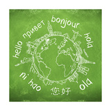 Say Hello Around The World. Hello Translated In A Few International Languages Poster von Viorel Sima